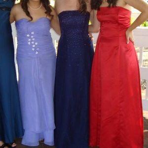 Purple glitter strapless Prom dress